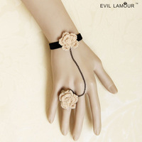 Women fashion vintage pink rose flower charm bracelet with ring birthday christmas gift for girl