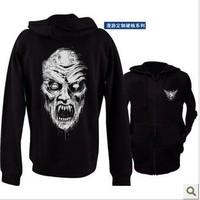 European and American nuclear ghost hardcore death metal trolling death god god zombie skull face street Trot zipper sweater men