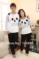 Spring autumn knitted cotton panda face pyjamas sleepwear female male long-sleeve lounge set housecoat 51096