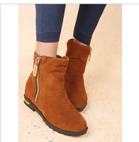 Free Shipping 2013 boots velvet martin boots autumn and winter fashion female ankle low heeled zipped boots flats women's shoes