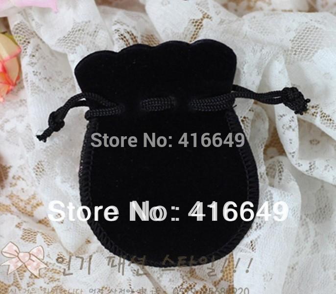 Free Shipping 100pcs/Lot 7x9cm Black velvet bag holiday Gift bag/Jewelry Bag/Jewelry Drawstring pouch(China (Mainland))