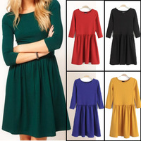 Candy Color Women Fashion One-piece Dress O-neck Slim Waist Women's Brand Dresses New Spring Autumn Ladies Clothing