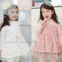Spring and autumn children's clothing female child three-dimensional rose puff skirt long-sleeve dress princess dress
