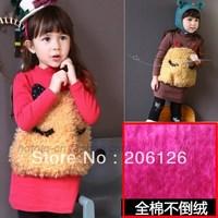 Children's clothing autumn and winter female child plus velvet thickening sweatshirt three-dimensional bear plus velvet pullover