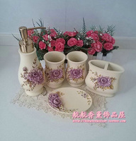 Purple flower resin bathroom set of five pieces flower bathroom set bathroom kit wedding supplies