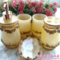 Resin ornamental engraving five pieces set of bathroom yellow laciness bathroom set bathroom kit wedding supplies