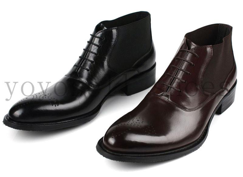 fashion black brown mens dress shoes pointed toe