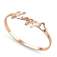 Unique Gifts Girl's & Women's 925 Sterling Silver Rose Gold Plated Personalized Any Name Bangle Color Rose Gold Free Shipping