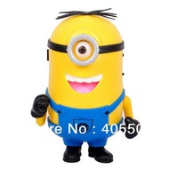 Free Shipping 10pcs 2013 New Despicable Me 2 cartoon mini speaker support U-disk and TF card with FM radio portable mp3 player