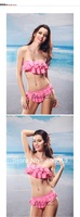 Newest brand women bikini swimsuit sexy swimsuit solid multilayer flounced split bikini swimsuit women's swimsuit Free shipping