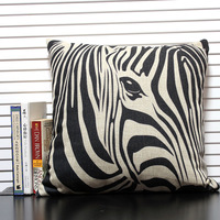Free shipping high quality linen invisible zipper vintage creative zebra printing sofa cushion cover/pillow cover 45*45cm