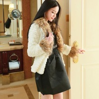 Women's Faux Fox Collar Rabbit Fur Coat Jackets PC44 White