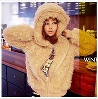 Free shipping + New winter women fashion cute sweater outside / Warm plush coat / Slim hairy overcoat / Casual jacket