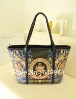 2013 women's handbag fashion all-match fashion vintage flower color block one shoulder big bag shopping bag