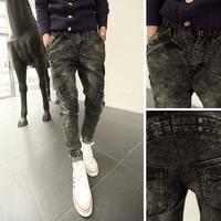 free shipping Pants mens denim 2013 men's slim harem pants boot cut jeans hanging crotch pants