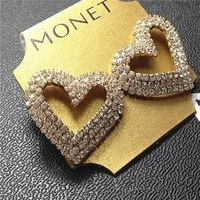 Min. order is $15 (mix order) Fashion Gold Plated Europe Sexy 3 Layers Heart Shape Rhinestone Stud Earrings
