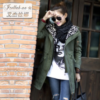 2013 autumn trench with a hood trench women's 100% cotton casual outerwear female 1880