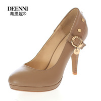 Genuine leather high-heeled shoes brief hasp solid color cowhide single shoes formal ol female slip-resistant shoes