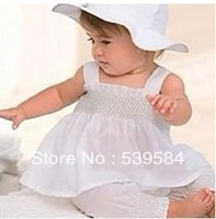 SHT112 Free Shipping Cute Baby Girl Kid Toddler Ruffle Top Pants Hat Dress Set Outfit Costume Clothes braces skirt +hat+pants