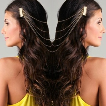 New Arrival Gold long tassels Hanging Hair slide for women Fashion Hair Combs