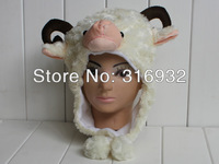 J4 Cartoon Animal Hat Cute Sheep/goat Plush Winter Warm Cap, color  light yellow