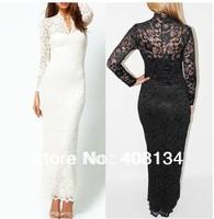 Fashion Ladies' Sexy Slim long Lace Women dress Maxi Long Sleeve White Black Wedding Evening dress, Free Shipping 1pcs