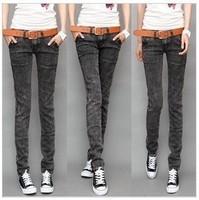 2013 women's dark grey pants pencil pants slim jeans