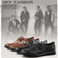 2013 new, men, winter, natural leather, apartments, dress, casual shoes, slip, occupation, male leather shoes free shipping