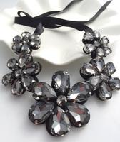 Luxury dinner vivi sparkling big glass crystal flower necklaces formal dress necklace collar false collar female