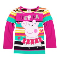 new 2013 peppa pig girls cartoon t shirt for girls fashion t-shirt kids long sleeve children t shirts peppa pig baby F4140#