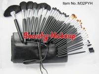 1set hot sale!! 32pcs Professional Makeup Brush sets & Cosmetic Tools Kits + PU bag, with brand Logo,dropship Free Shipping