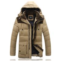 Slim down cotton thickening medium-long cotton-padded jacket patchwork hat detachable