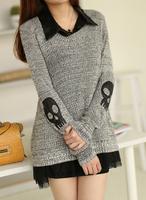new 2014 fashion sweater shirt twinset loose medium-long women sweaters female outerwear casual sweaters skull drop/free shippin