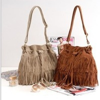 Boho Faux Suede Fringe Tassel Bucket Shoulder Bags Cross Body Drawstring HandBag