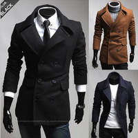 M-XXL Free shipping High Quality 2013 New Slant pockets Double-breasted Large lapel Korean men Slim woolen coat Jackets