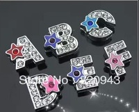130pcs 8mm zinc alloy with a Star DIY Slide letters fit wristband pet collar keychain