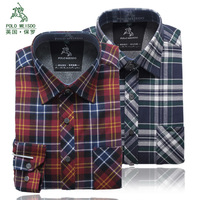 Winter clothing cotton sanded 100% thermal long-sleeve plaid shirt plus velvet thickening shirt