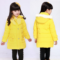 2013 child down coat medium-long female child baby winter children's clothing