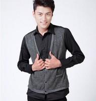 2012 Men's FashionableClassic Men's Color Block Fake Two-piece Shirt Black