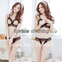 20 PCS/LOTSEXY! Hot Women's Sexy Lingerie Two-piece Lace Sleep Night Dress with G-string Black 12406