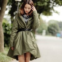 A - shaped type cotton-padded jacket wadded jacket female medium-long Army Green wadded jacket outerwear women's wadded jacket