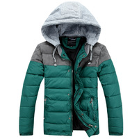 2013 wadded jacket male cotton-padded jacket thermal winter short design patchwork color block