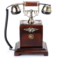 Free shipping new 2014 Fashion solid wood rustic antique telephone retro telephone vintage home decor hot sell