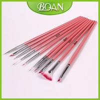 Free Shipping Wholesale Brand New 10PCS Wooden Nail Pen Set Nail Brush Kit Brush Oval