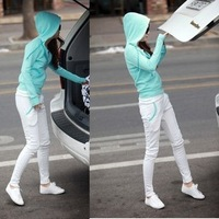Autumn plus size clothing sweatshirt set pencil pants skinny pants cardigan sportswear set