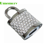 Retail genuine capacity 2b 4b 8b 16b 32b jewelry diamond lock shape usb flash drive pen drive memory stick Drop Free shipping