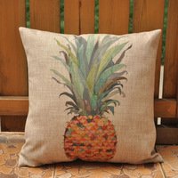 Free shipping high quality & invisible zipper linen vintage pineapple printing sofa cushion cover/pillow cover 45*45cm