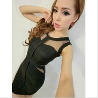Fashion ladies fashion sexy gauze perspective women's empty thread slim hip slim formal dress one-piece dress