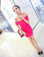 Sexy summer hold 2013 women's petals scalloped slit neckline spaghetti strap one-piece dress