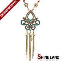 Free Shipping 2014 New Women Fashion Ethnic Enamel Beads Star Long Tassel Pendants Statement Necklaces Jewelry K22030